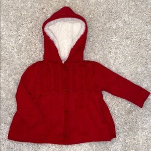 Gymboree Red Cardigan with Lined Hood. 6-12mths